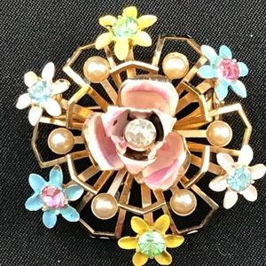 Vintage pastel flower brooch